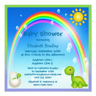 Newly Hatched Dinosaur Rainbow Baby Shower 5.25x5.25 Square Paper Invitation Card