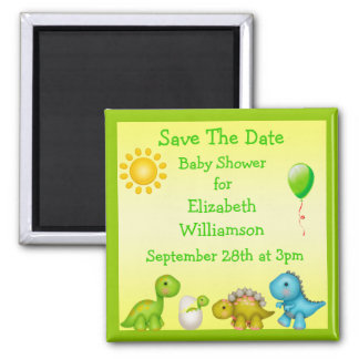 Newly Hatched Dinosaur Save The Date Baby Shower Fridge Magnets