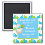 Newly Hatched Dinosaur Save The Date Baby Shower 2 Inch Square Magnet