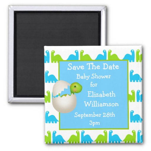 Newly Hatched Dinosaur Save The Date Baby Shower Magnets
