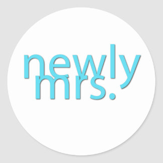 newly mrs / blue classic round sticker