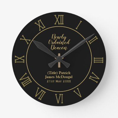 Newly Ordained Deacon Gift Scripture Verse Custom Round Clock