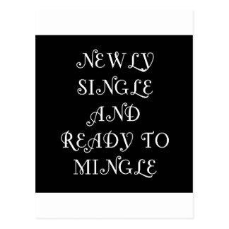 Newly Single and Ready to Mingle - 3 - White Postcard