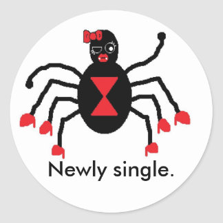 Newly single classic round sticker