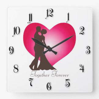 Newly wedded couple square wall clock
