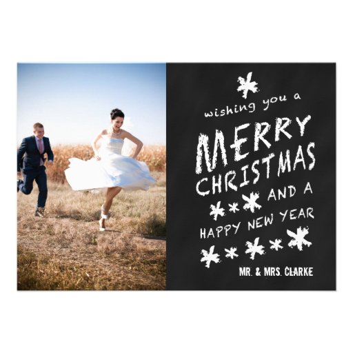 NEWLY WEDS CHALKBOARD PHOTO HOLIDAY GREETING CARD