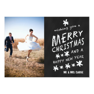 NEWLY WEDS CHALKBOARD PHOTO HOLIDAY GREETING CARD CUSTOM INVITATIONS