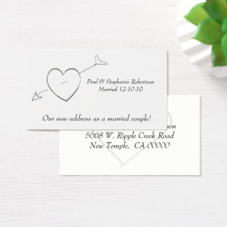 Newly Weds & Hearts New Address Business Card