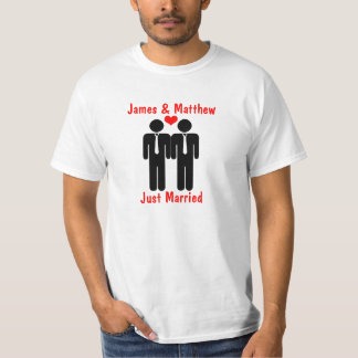 Newly Weds Two Grooms With Heart Customizable T-Shirt