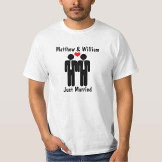 Newly Weds Two Grooms With Heart Customizable Tees