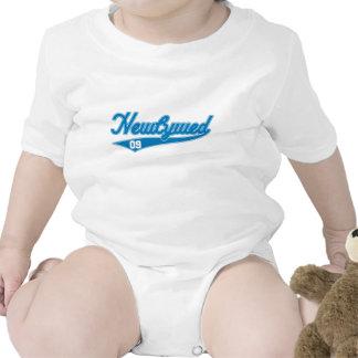 Newlywed 09 Baseball Script Blue Baby Bodysuits