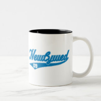 Newlywed '09 (Baseball Script Blue) Two-Tone Coffee Mug
