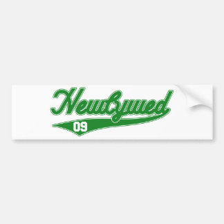 Newlywed '09 (Baseball Script Green) Bumper Stickers