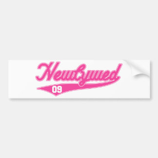 Newlywed '09 (Baseball Script Pink) Bumper Stickers