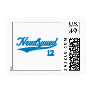 Newlywed 12 (Baseball Script Blue) Stamp