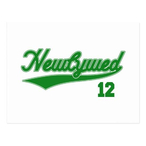 Newlywed 12 (Baseball Script Green) Post Cards