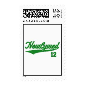 Newlywed 12 (Baseball Script Green) Postage Stamp