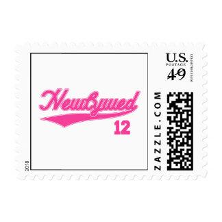 Newlywed 12 (Baseball Script Pink) Stamp