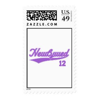 Newlywed 12 (Baseball Script Purple) Postage Stamp