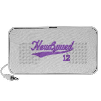 Newlywed 12 (Baseball Script Purple) Mp3 Speakers