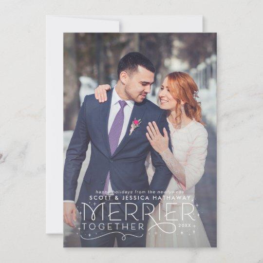 Newlywed Christmas Card With Wedding Photo