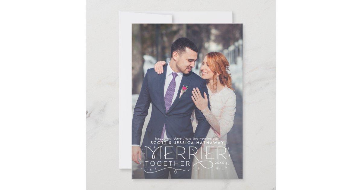 Newlywed Christmas Card with Wedding Photo | Zazzle.com
