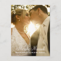 Newlywed Christmas Photo Holiday Postcard