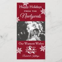 Newlywed Christmas Photo Red Holiday Card