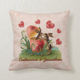 Newlywed Couple Cute Vintage Rabbits Kissing A02 Throw Pillow