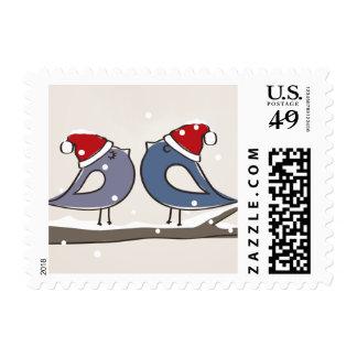 Newlywed Lovebirds Holiday Christmas Stamp