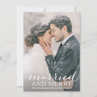 Newlywed Photo Christmas Cards - Married and Merry