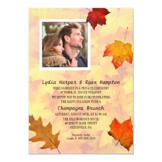 Newlywed Photo Reception Only Party Fall Theme 5x7 Paper Invitation Card