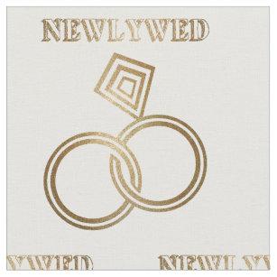 Newlywed Romantic Gold Rings Wedding Fabric