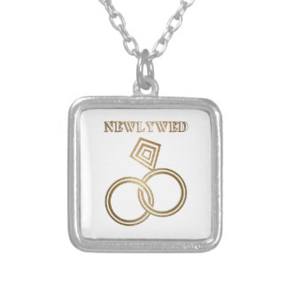 Newlywed Romantic Gold Rings Wedding Silver Plated Necklace