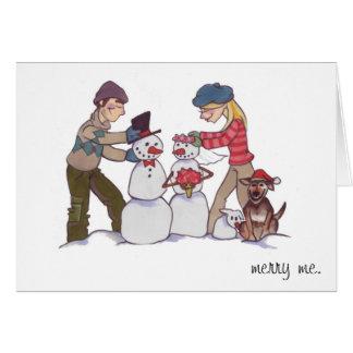 "Newlywed Snowmen ""Merry Me"" Card"