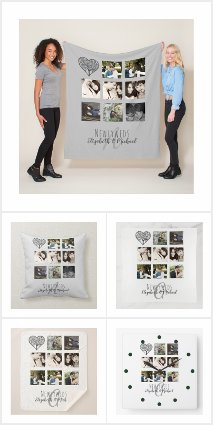 Newlywed Wedding Photo Collage Monogram Gifts
