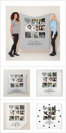 Newlywed Wedding Photo Collage Monogram Gifts