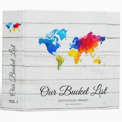 Newlyweds BUCKET LIST Travel Adventure Theme Map 3 Ring Binder