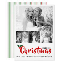 Newlyweds first Christmas four photo collage card