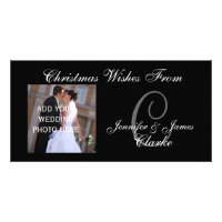 Newlyweds First Christmas Monogram Photo Card