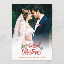 Newlyweds Just Married First Christmas Photo Holiday Card