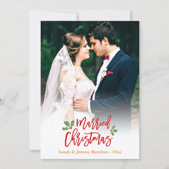 newlyweds just married first christmas photo holiday card zazzle com