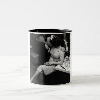 newlyweds kissing at a resturaunt Two-Tone coffee mug
