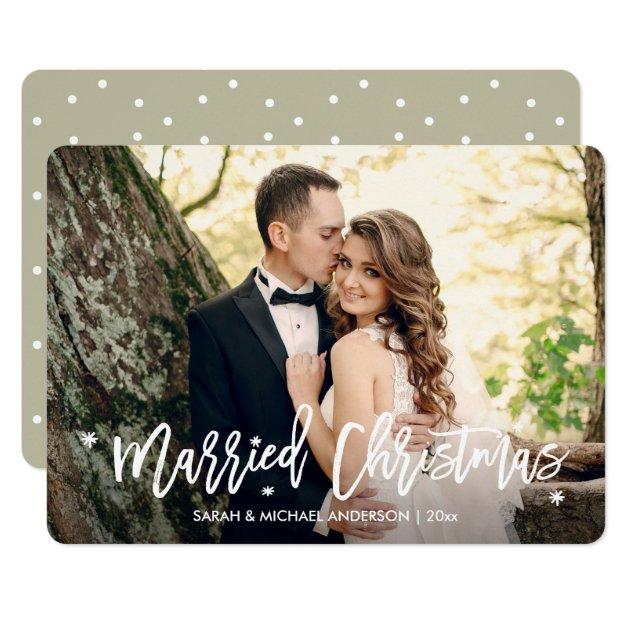 Newlyweds Married Christmas Overlay Script Photo Card