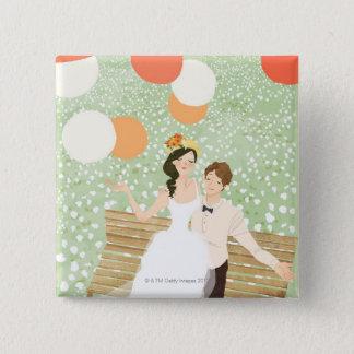 Newlyweds on a Garden Branch Button