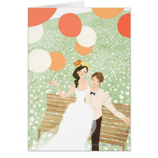 Newlyweds on a Garden Branch Card