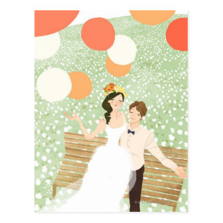 Newlyweds on a Garden Branch Postcard