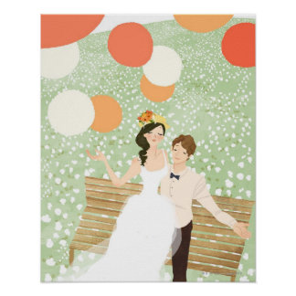 Newlyweds on a Garden Branch Poster