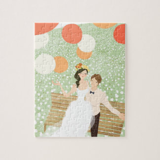 Newlyweds on a Garden Branch Puzzle
