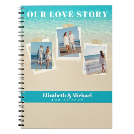 Newlyweds Our Love Story PHOTO Collage Custom Notebook